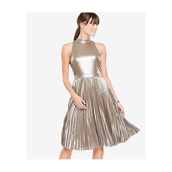 30f4d693903 4P Ann Taylor Gold Foil Shimmer Cocktail Dress